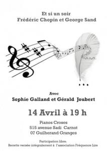 Flyer Et si un soir, Frédéric Chopin et George Sand, avec Sophie Galland et Gérald Joubert