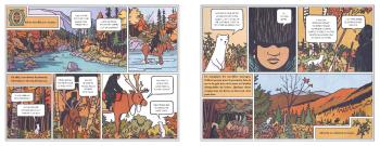 Deux planches de l'album Oddvin, le prince qui vivait dans deux mondes