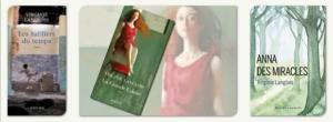 Triptyque de couvertrues des trois livres de Virginie Langlois : Les sabliers du temps - La grande éclaire -Anna des Miracles