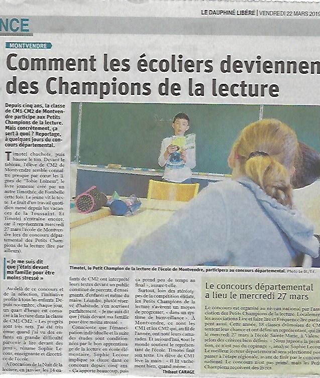 Article de journal Le Dauphiné Libéré - 22 mars 2019 - Titre : commet les écoliers deviennent des Champions de la lecture