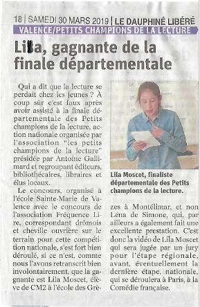Article de journal Dauphiné Libéré - Samedi 30 mars 2019 - Lila, gagnante de la finale départementale.