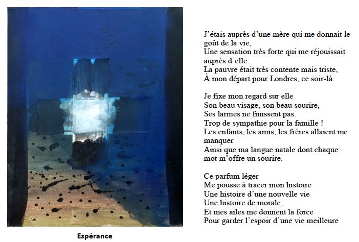 """Peinture """"Espérance"""" de Sophie Lefaure. Illustre le poème de Sankoumba : """"j'étais auprès d'une mère qui me donnait le goût de la vie. Une sensation très forte me réjouissait auprès d'elle..."""""""