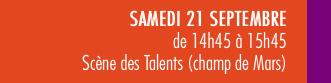 mots-a-la-bouche-valence-en-gastronomie Texte qui annonce le programme du samedi 21/09 avec les scène des talen,ts de 14h45 à 15h45, sur le champ de Mars