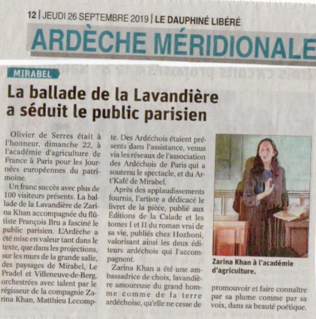 Coupure de presse de l'Ardèche Méridionale : la Ballade de la Lavandière a séduit le public parisien