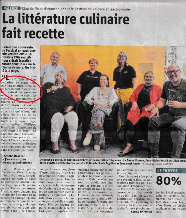Article du Dauphiné Libéré du 22 septembre 2020 : la littérature culinaire fait recette.