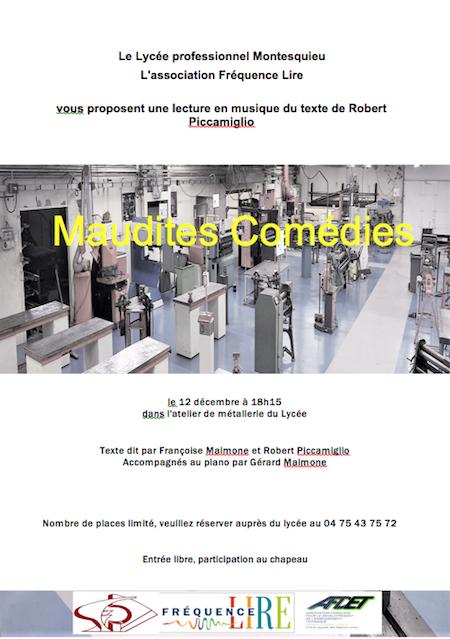 Maudites comédies, Robert Piccamiglio invité au lycée Montesquieu de Valence : affiche de l'événement
