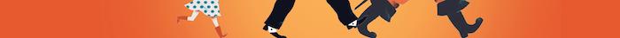 Sur fond orange, une partie de l'illustration de l'affiche des PCL 2020. Où l'on ne voit que des jambes qui marchent
