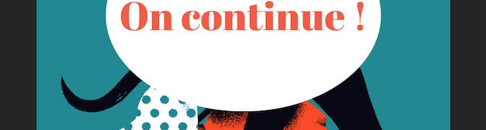 Une partie de l'affiche des PCL 2020 qui énonce : On continue!