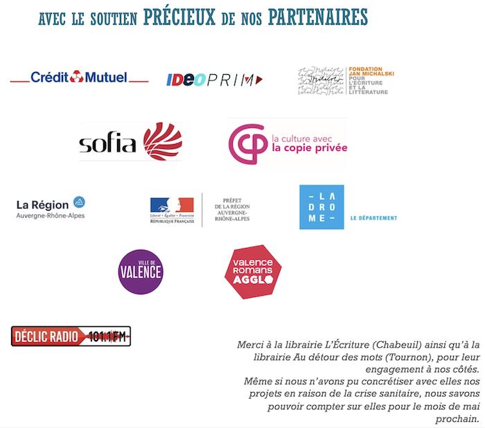 Photo qui présente les logos de l'ensemble des partenaires de Fréquence Lire pour l'organisation de ces rencontres.