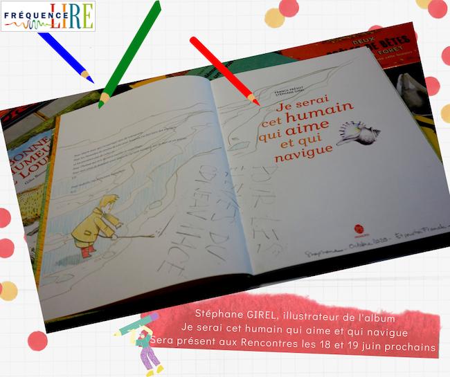 Première page du livre Je serai cet humain qui aime et qui navigue avec tout un travail de dessin de la part de l'illustrateur qui avait dédicacé ce livre à l'a classe qui l'avait reçu au collège de Portes Les Valence l'année dernière.
